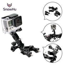 SnowHu for GoPro accessories Bike Motorcycle Handlebar Seatpost Pole Mount 3 Way Adjustable Pivot Arm for Gopro Hero 6 5 4 GP02