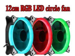 RGB Cas Ventilateur De Refroidissement 120mm 12 cm Avec RGB LED Anneau Pour Ordinateur Refroidisseur D'eau Couleur Radiateur Ventilateur