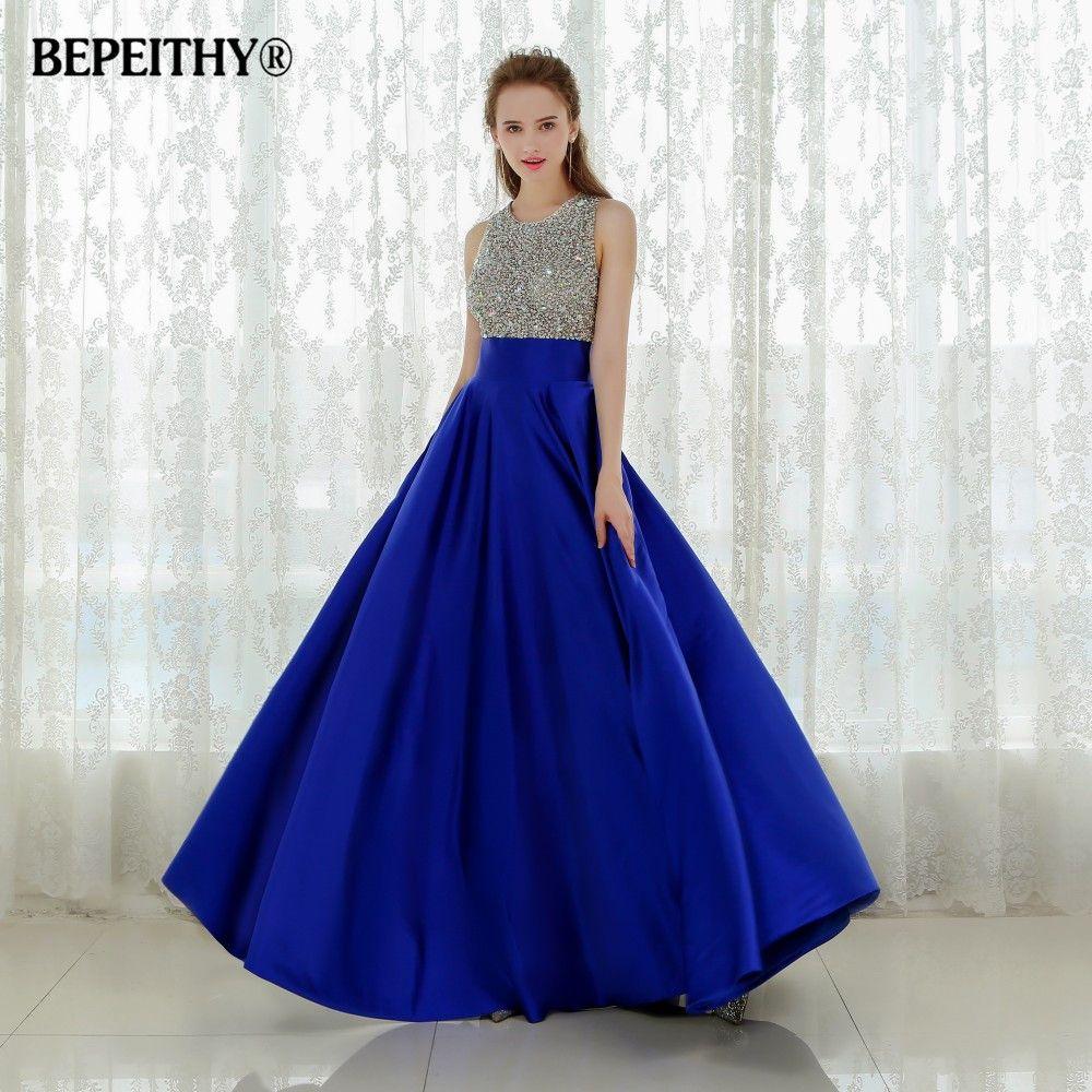 Vestido Longo Royal Blue Long Evening Dress 2016 Crystal Top Vintage Prom Dresses Robe De Soiree Fast Shipping With Pocket
