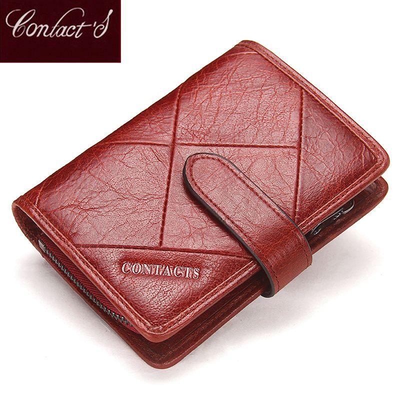 Contact's 2019 nouveau Vintage femmes portefeuilles femme en cuir véritable femmes portefeuille fermeture à glissière et moraillon Design avec porte-monnaie poche
