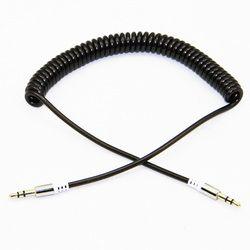 Chapado en oro elástico en espiral 3.5mm audio estéreo retráctil aux cable macho a macho para Altavoces auricular