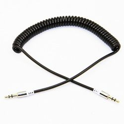 Or Plaqué Élastique Enroulé Printemps 3.5mm Stéréo Audio Aux Câble Rétractable Mâle à Mâle Pour Haut-parleurs Casque