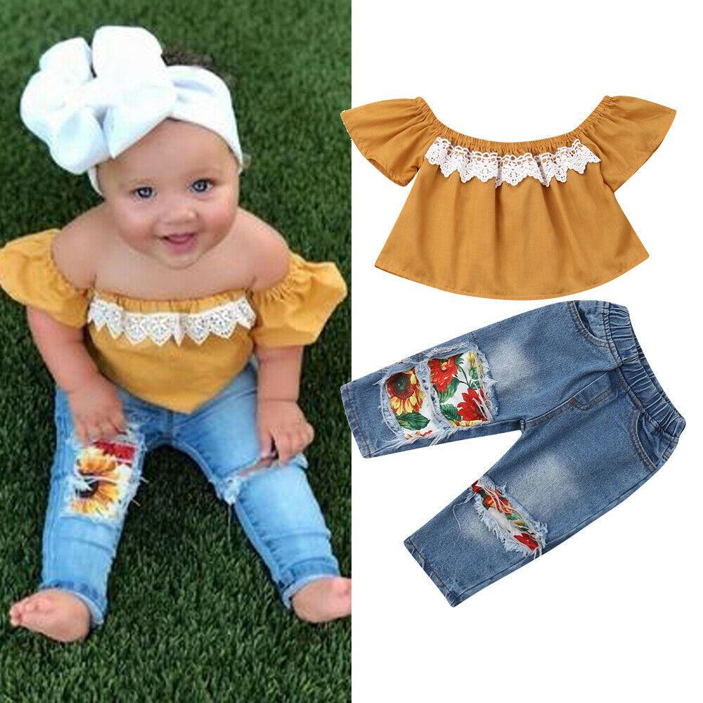 Nouveau 2 pièces bambin enfants bébé fille vêtements hors épaule dentelle chemise hauts + tournesols trou Denim pantalon tenues 1-5Y expédition rapide