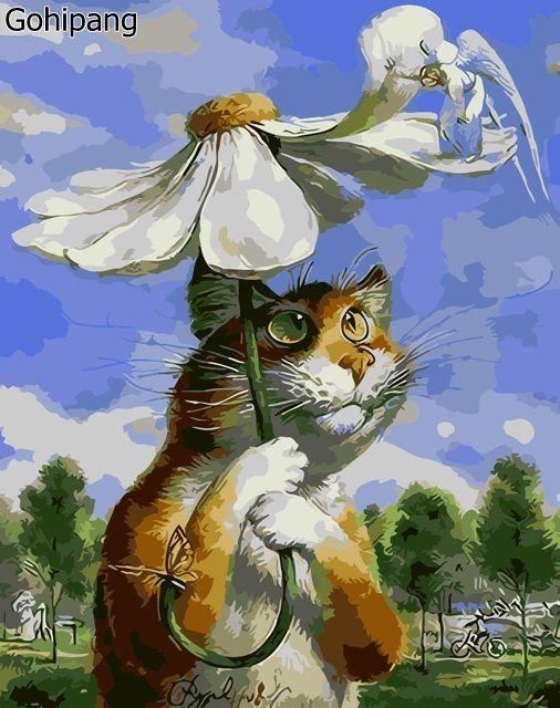 NOUVEAU! Diy peinture à l'huile par numéros décoratif draps peinture murale calligraphie brosse acrylique coloriage chats de bande dessinée