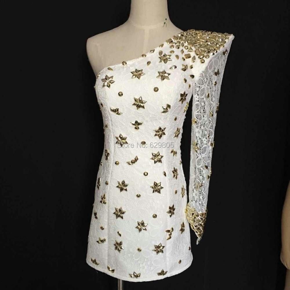 Sexy Gold Metal Rhinestones White Lace Dress Women's Casual One Piece Party Dress Nightclub Bar Costume Female Singer Stage Wear