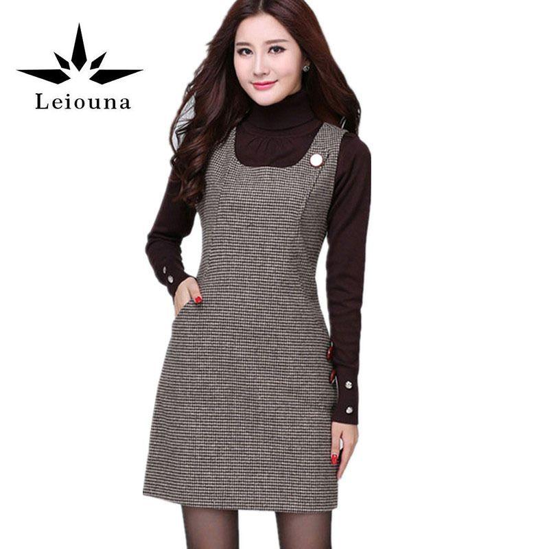 Leiouna New 2017 Women Autumn Winter Sundress Multicolor Cotton Warm Loose Skater Sweater Plaid Off Shoulder Dress Size 5xl