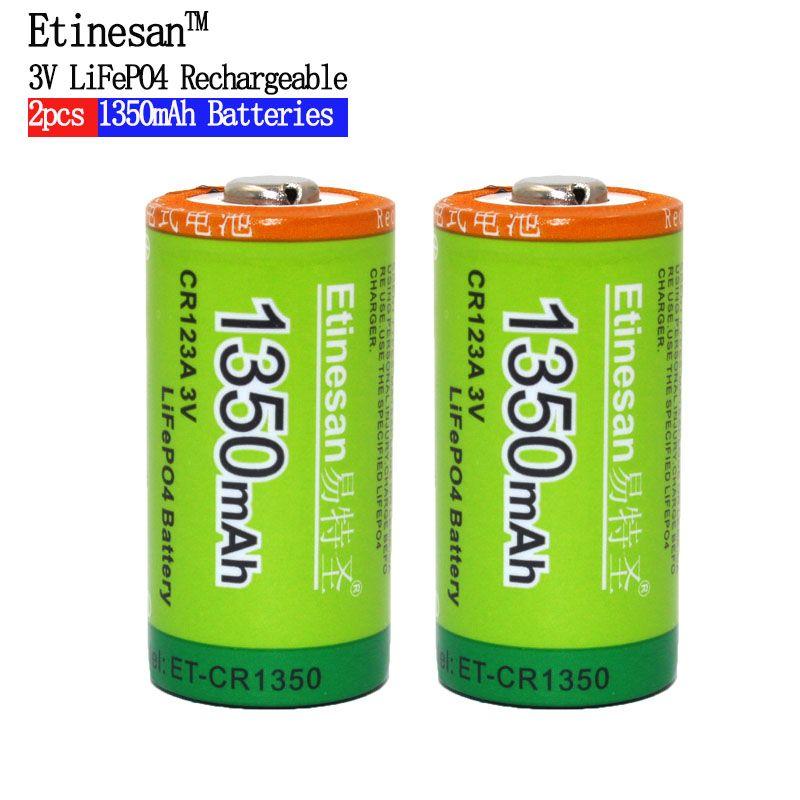 Etinesan 2 pièces Cr123a 3 v LiFePO4 Batteries Au Lithium Li-po 16340 3.0 V Li-ion li-polymère 1350 mAh Batterie Rechargeable
