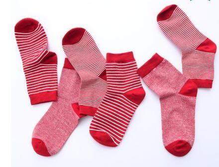 stripe one set l-ov women high  2017 Women Fashionable Patterns Cotton Winter Socks Cute Cartoon Middle Sock Female Short Socks