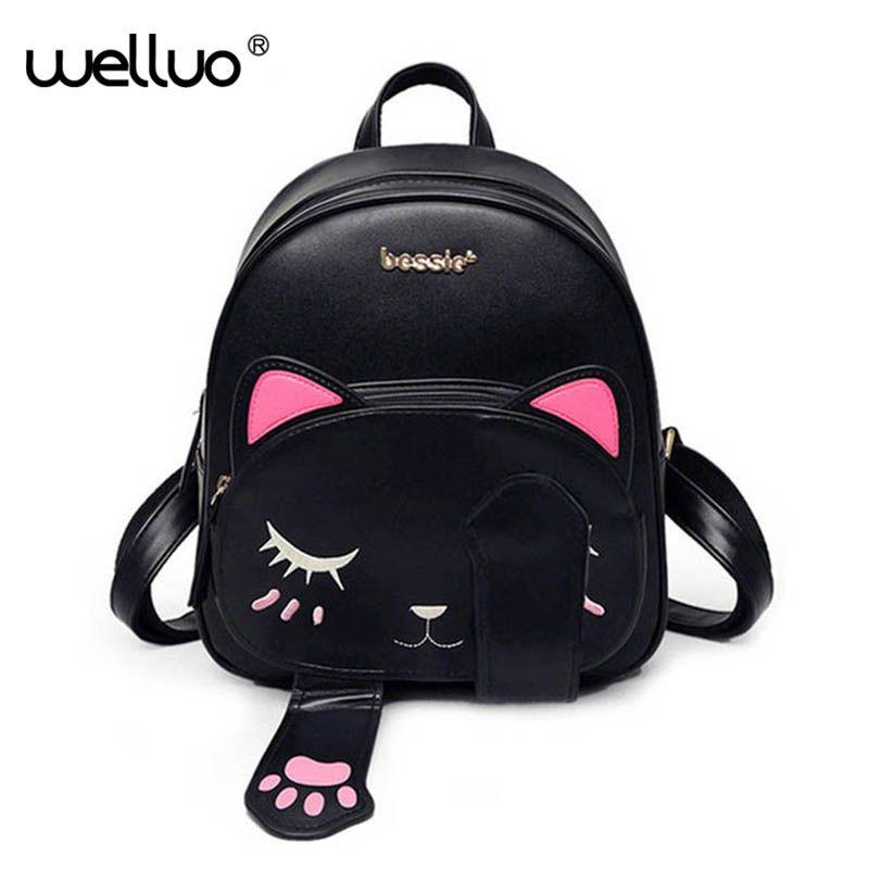 Cute Cat Backpack School Women Pu Leather Backpacks for Teenage Girls Funny Cats Ears Canvas Shoulder Bags Female Mochila XA531B