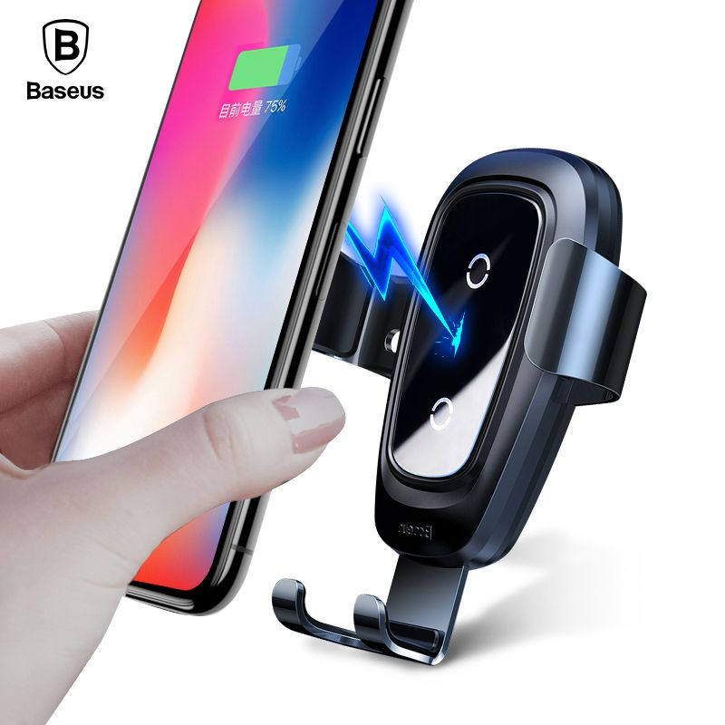 Baseus Metal Car Mount Qi Wireless Charger For iPhone X 8 Fast Wirless <font><b>Charging</b></font> Car Phone Holder Stand For Samsung Note 9 S9 S8
