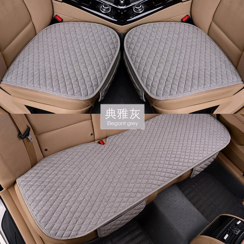 Linen Fabric Car Seat Cover Four Seasons Front Rear Flax Cushion Breathable Protector Mat Pad Auto accessories Universal Size