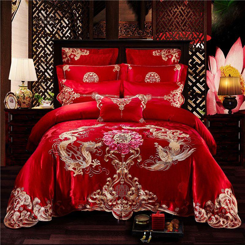 4/6/9pcs Luxury Red Wedding 100% Cotton Bedding Set Golden Phoenix Dragon Embroidery Duvet Cover Bed Sheet Bedspread Pillowcases