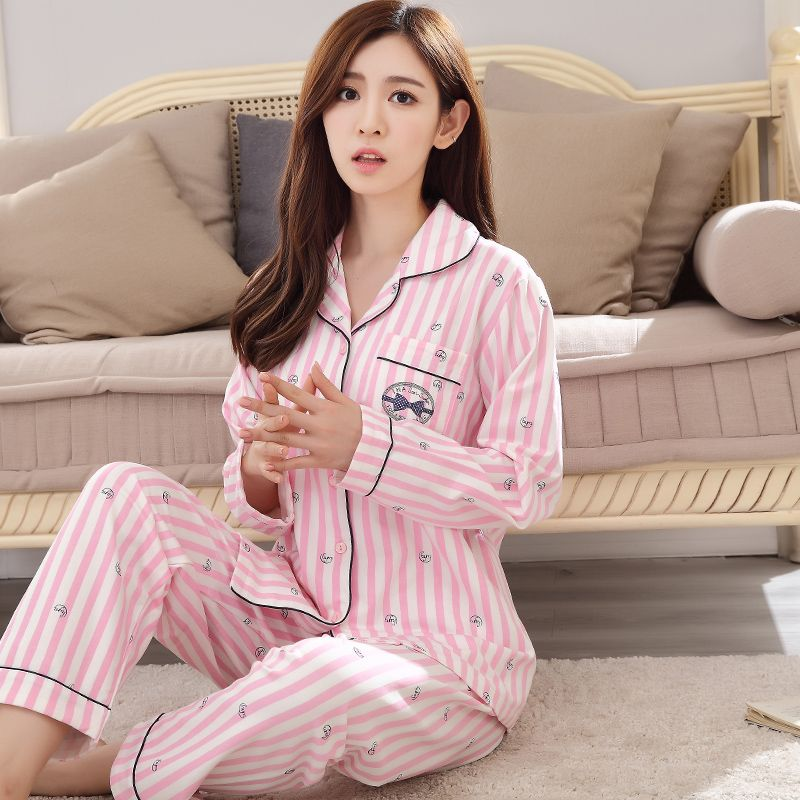 Pink Striped Woman Girl Cotton Long sleeved Pajama sets Sleepwear with Pocket Lady Tracksuit Pyjamas Suit in Spring and Fall