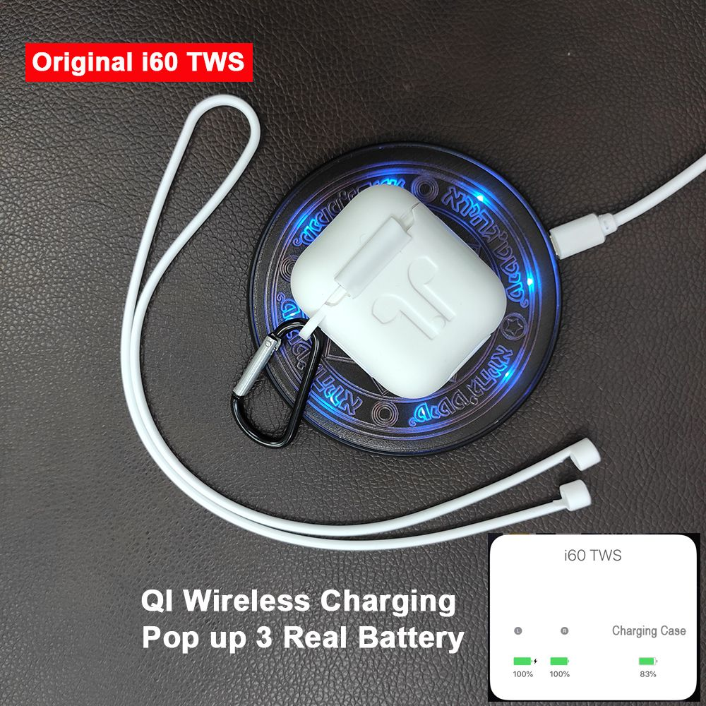 i60 TWS Pop up 1:1 Replica Separate use Wireless Earphone QI Wireless Charging Bluetooth 5.0 Earphones Bass Earbuds PK i20 i30