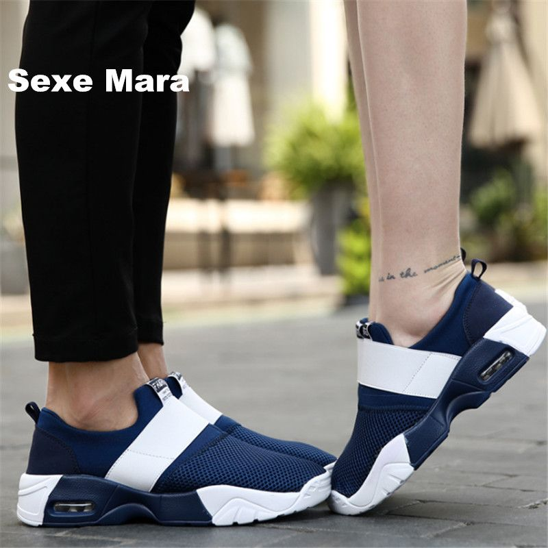 Brand shoes Men canvas Flat Casual shoes Unisex Net cloth men Air cushion damping zapatos mujer chaussure <font><b>homme</b></font> tenis feminino