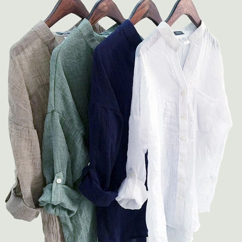 DERUILADY Casual Loose Womens Tops And Blouses Harajuku Plus Size Blouse Shirt Fashion Cotton Linen V Neck Women Shirts Blusas