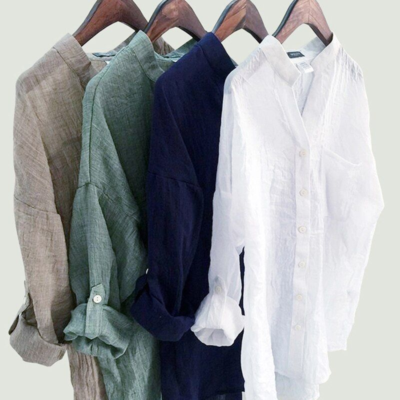 DERUILADY Casual Loose Womens Tops Shirts Harajuku Plus Size Shirt Fashion Solid Cotton Linen V Neck Women T-Shirts Blusas