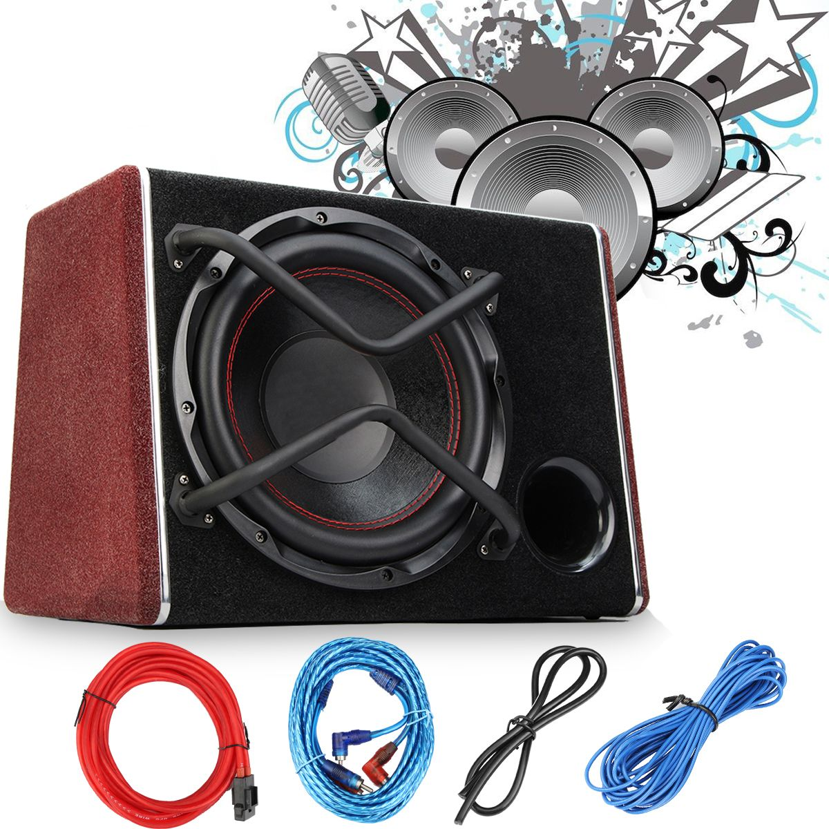 1200W Car Subwoofer Audio Active Sub Woofers Auto Car Sub Woofers Vehicle High Power Amplifier Speaker Super Bass