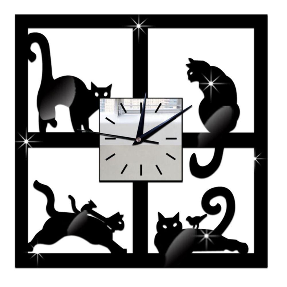Acrylique 3D Miroir Mur Horloges Noir Chat Motif Décoratif Horloges Murales pour Enfants Chambre Maison BRICOLAGE Horloges Décor 28 cm x 28 cm