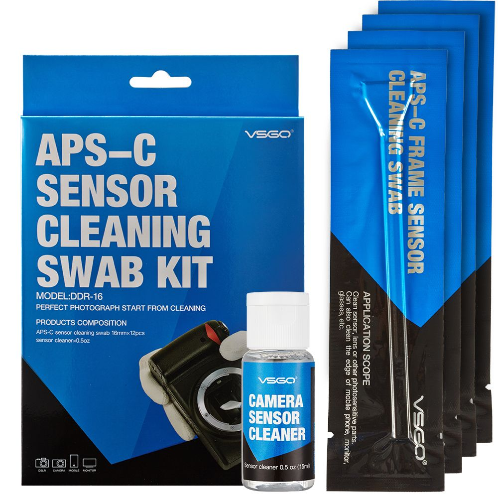 <font><b>DSLR</b></font> Camera Sensor Cleaning Swabs Kit 12pcs with Liquid Cleaner Solution for Nikon Canon Sony APS-C Digital Cameras
