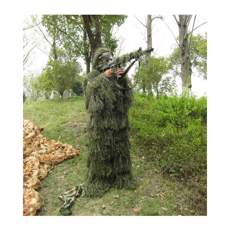 Hunting Ghillie Suit 3D Bionic Leaf Woodland CS Camouflage Suits Tactical Yowie Sniper Jungle Military Train