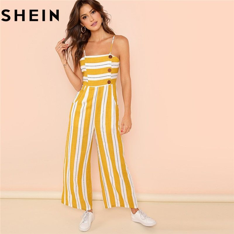 SHEIN Ginger Striped Wide Leg High Waist Casual Cami Jumpsuit Office Girls 2018 Summer Sleeveless Vacation Jumpsuits Long Pants