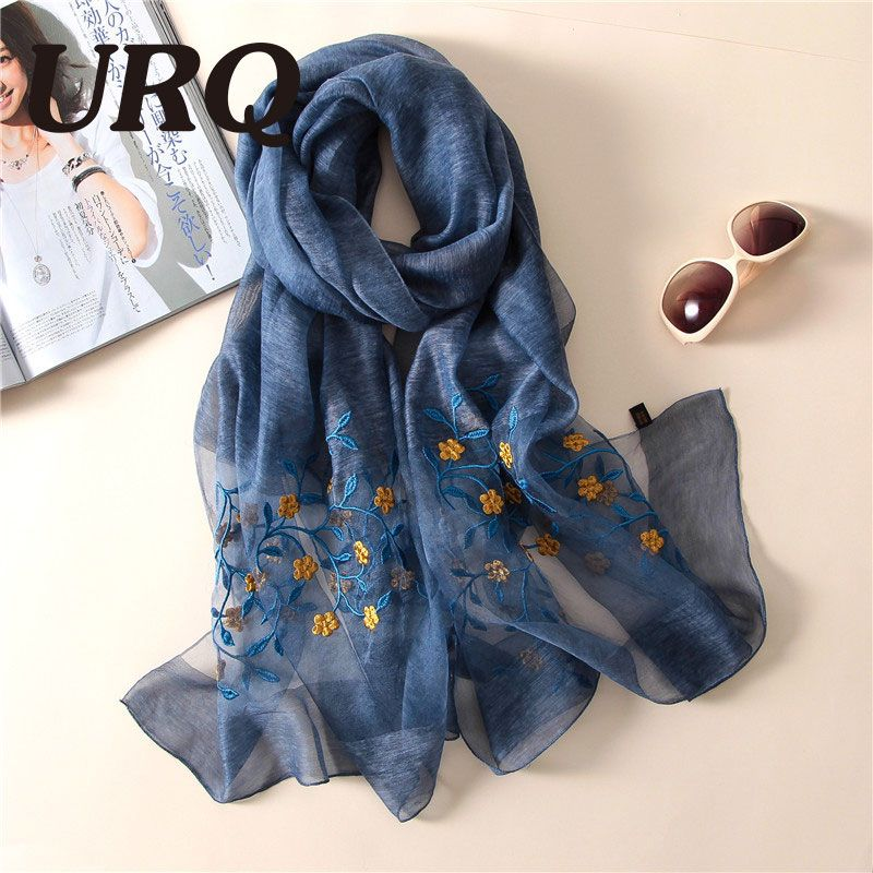 50% silk 50 %wool spring scarf for women foulard embroidered Chinese style soft bright luxury brand design 2017 new arrival