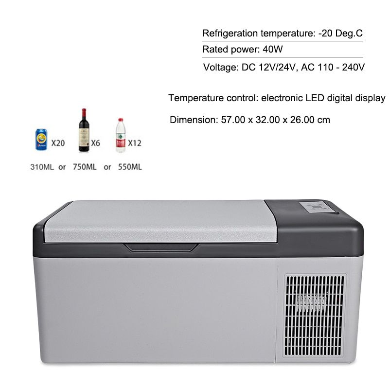 15L Fridge 12V/24V Led Digital Portable Compressor Car Refrigerator Freeze for Home Traveling -20 Degrees Auto Cooler Freezer