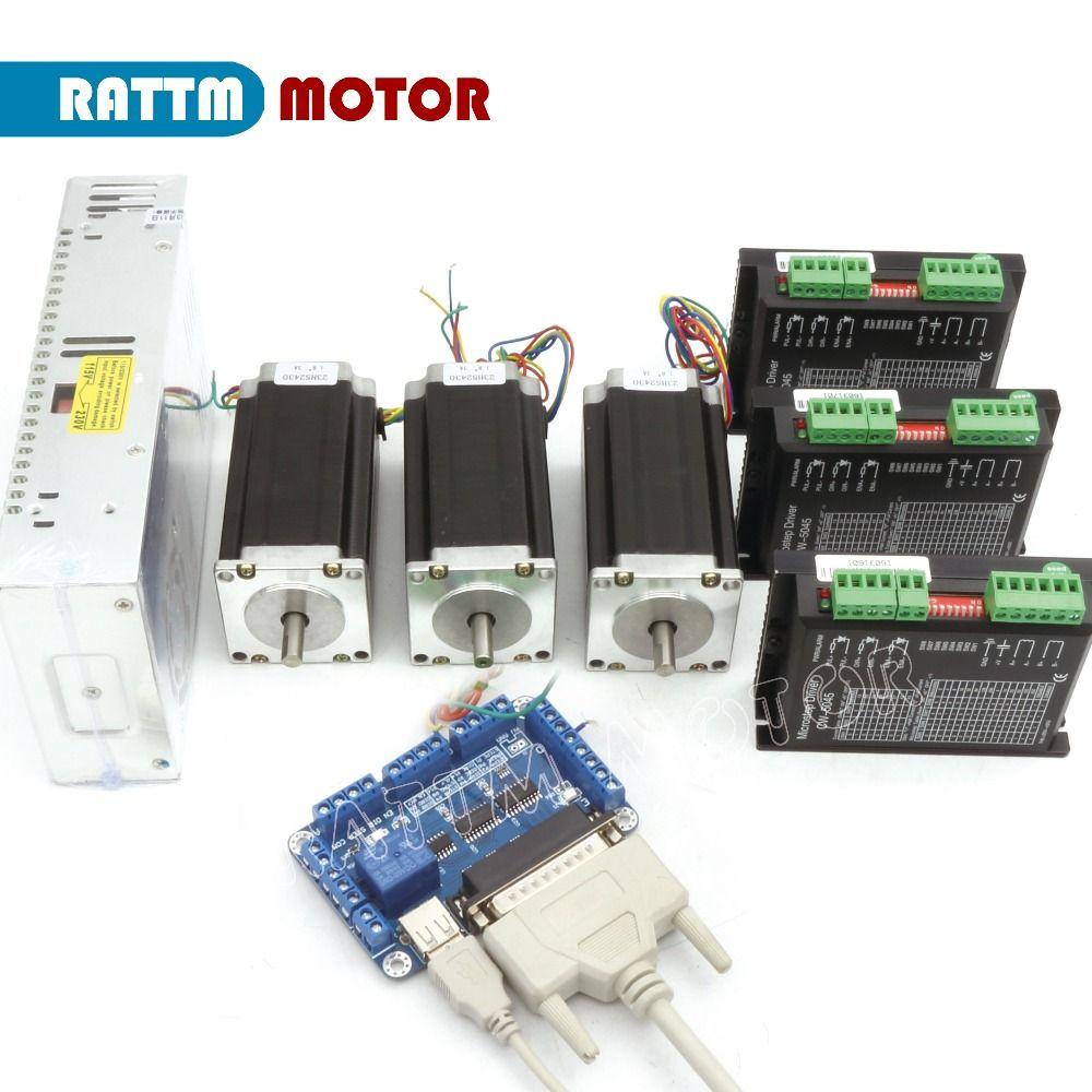 2018 Sale Stepper Motor Controller Power Kit 3 Axis Cnc 3pcs Nema23 425 Oz-in Dual Shaft Stepper Motor&256 Microstep 4.5a Driver