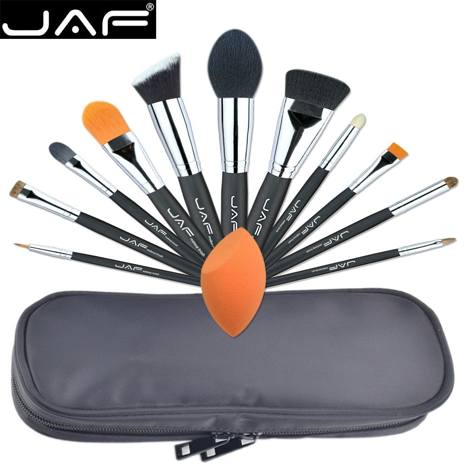 JAF Professional 12 PCS Makeup Brushes & Tool Set Unique Fuctions Cosmetic Complexion Sponge Polyester Zipper Case J1209MYZ-B