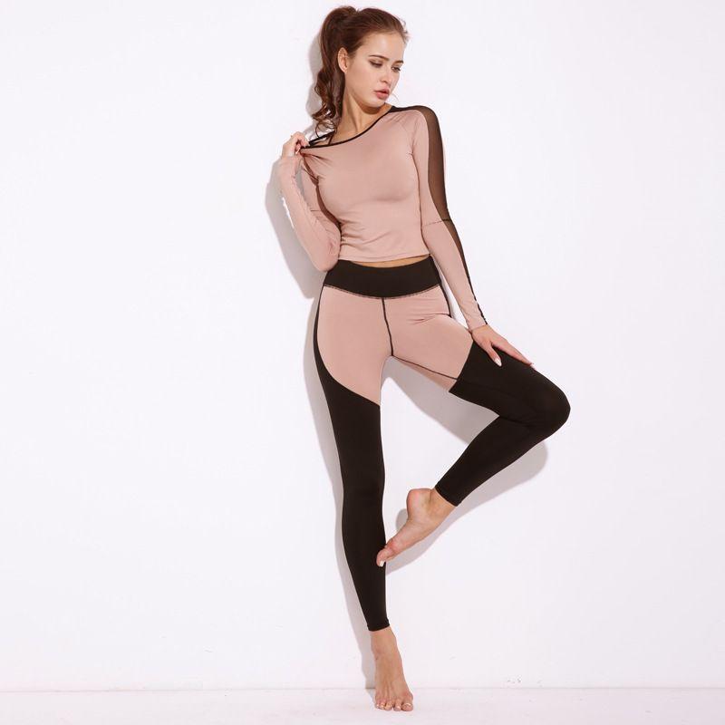 Nueva sexy Mesh empalme conjunto de las mujeres traje de Fitness Mujer Sporting tracksuit manga larga Camisas Leggings entrenamiento ropa deportiva Trajes