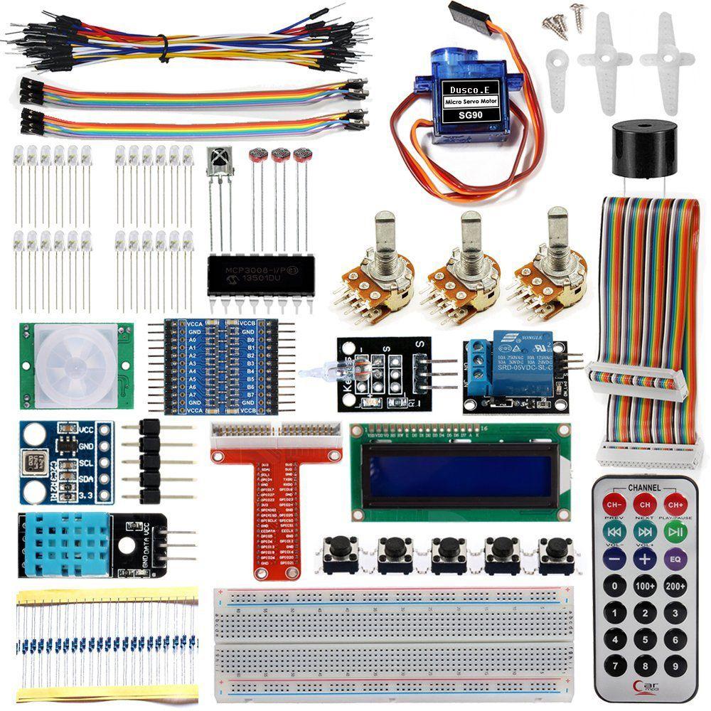 Raspberry Pi 3 Starter Kit Ultime D'apprentissage Suite 1602 LCD SG90 Servo LED Résistances Relais + Avec CARTE D'extension GPIO Saut Fil