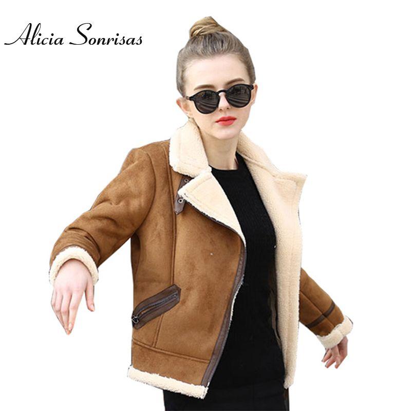 Brown Shearling Sheepskin Coats Women 2017 Autumn Winter Womens CoffeeLambs Wool Short Biker Faux Leather Suede Jackets JS3010