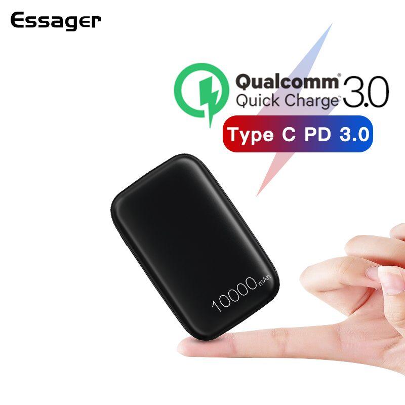 Essager mini batterie externe 10000 mAh Charge rapide 3.0 Powerbank pour Xiaomi chargeur Portable batterie externe USB type C PD appauvrbank