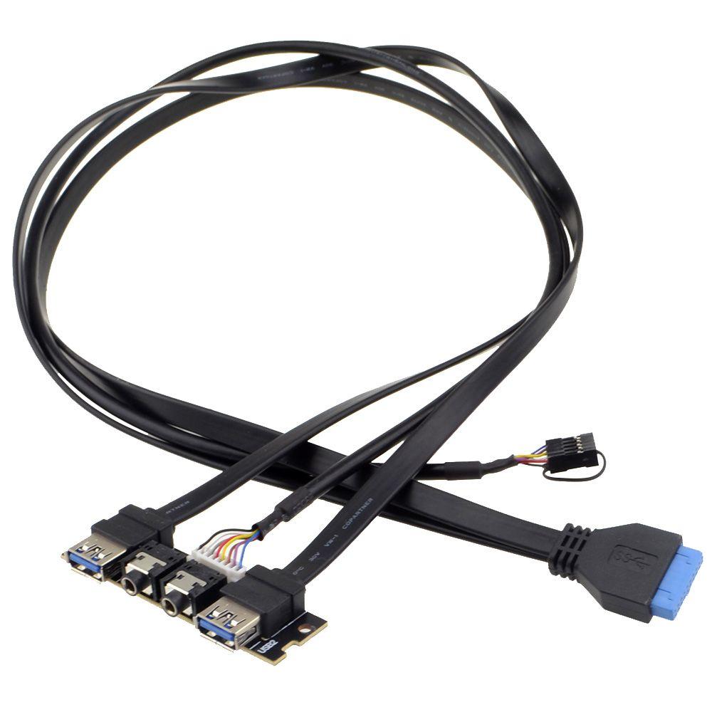 Nouveau panneau de boîtier avant 70cm USB3.0 + USB3.0 + Ports de prise Audio HD carte e/s + fil interne livraison gratuite avec numéro de piste 12002203