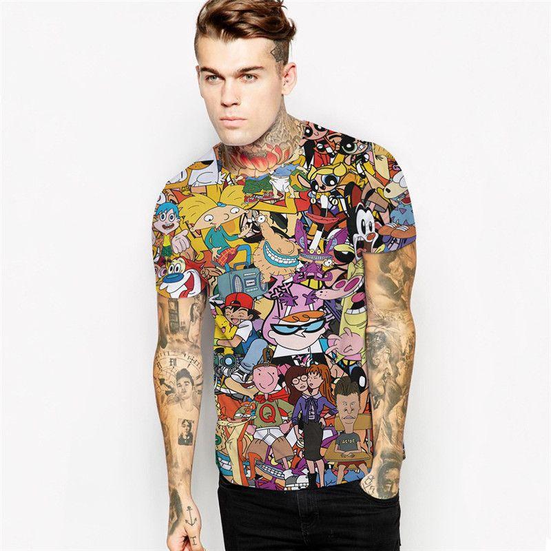 Новые 3D футболка S с принтом животных Футболка Для мужчин/мужской летний Повседневное Топы корректирующие Harajuku футболки мода мультфильм ко...