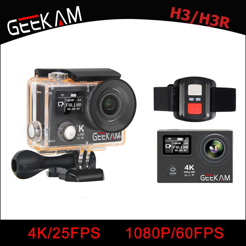 GEEKAM H3/H3R Action Camera 4K Wifi Ultra HD 170D Go 30M Waterproof Mini Cam Pro Double Screen Swim Sports Camera Hero 4 style