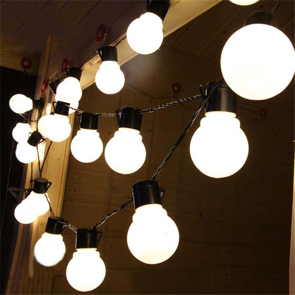 10M 38led a mené la lumière de ficelle 5CM super grosse boule AC110V 220V Extérieure pour la Fête De Noël festival Décoration blanc/blanc Chaud