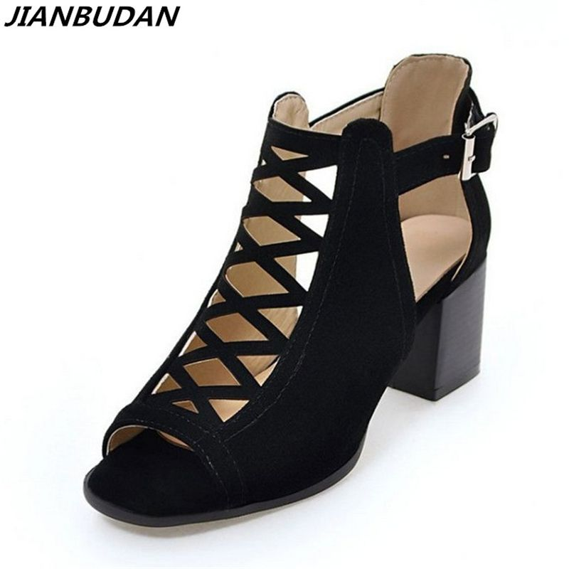 JIANBUDAN Size plus 35-43 suede fashion hollow sandals 2018 new fish head high-heeled sandals, Romanesque woman shoes