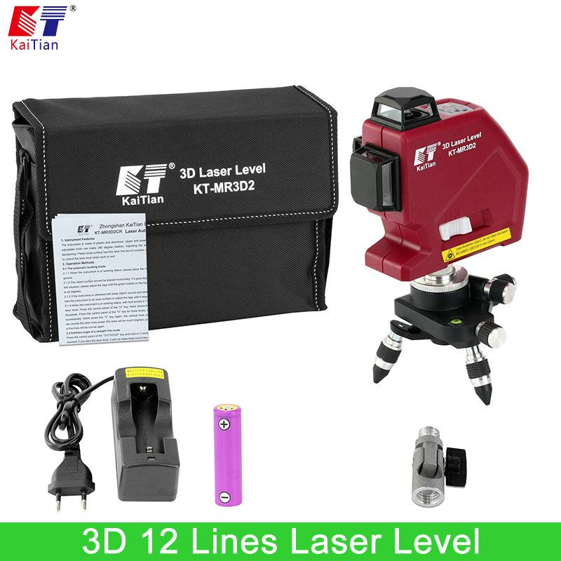 Kaitian Laser Level Battery 360 Rotary Slash Function Outdoor 635nm Self Leveling 3D 12 Cross Lines Vertical Horizontal Lasers