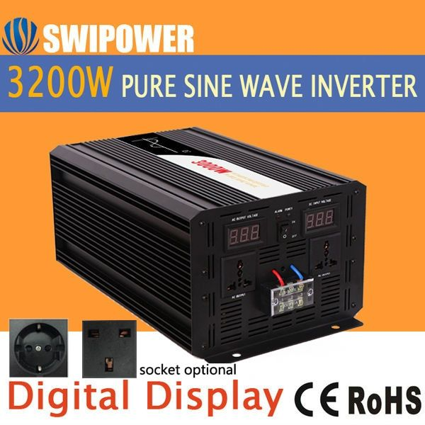 3200w 3000W pure sine wave solar power inverter DC 12V 24V 48V to AC 110V 220V digital display