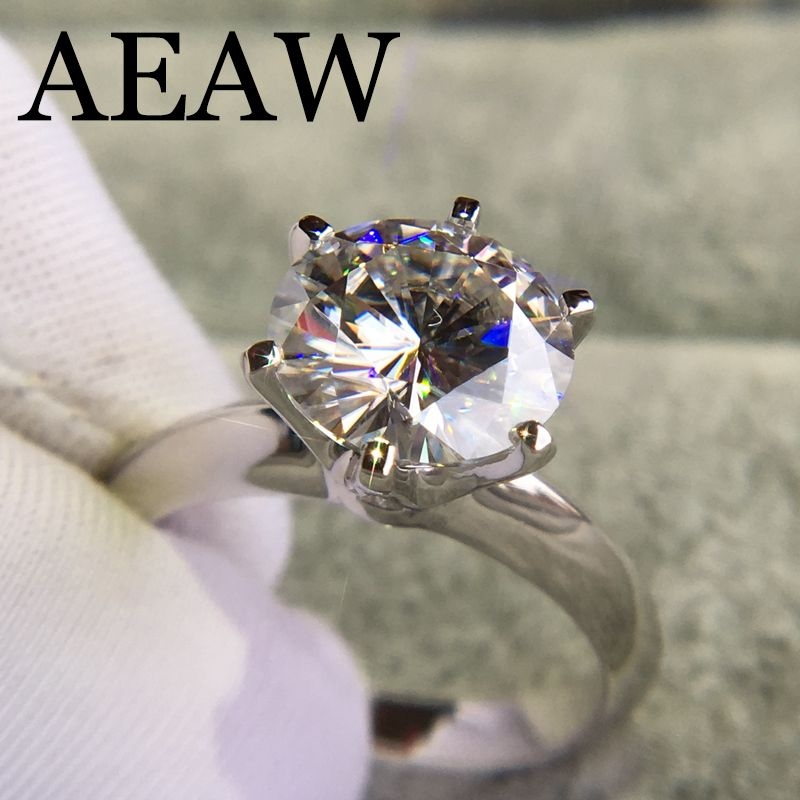 14 K Weiß Gold Überzogene Silber 3.0ct 9mm Runde Cut G Moissanite Engagement Ring Jahrestag Ring Moissanite Ring Für frauen