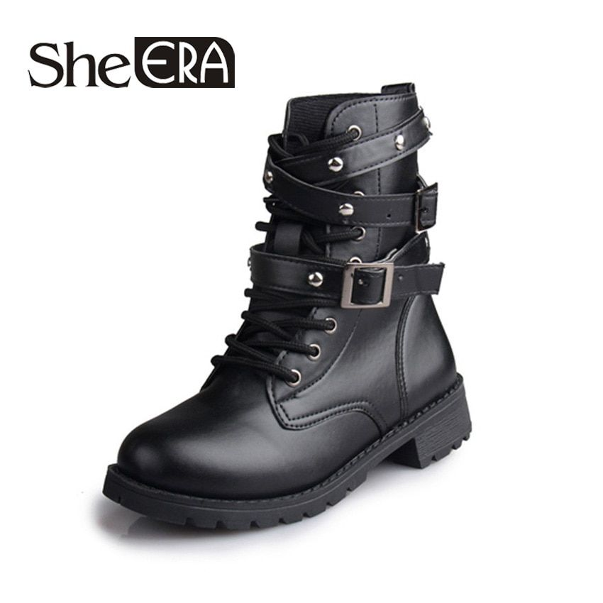 British Style Classic Women Motorcycle Boots Bandage Ankle Waterproof Hiking Ladies Vintage Rivet Combat Army Shoes Women Boots