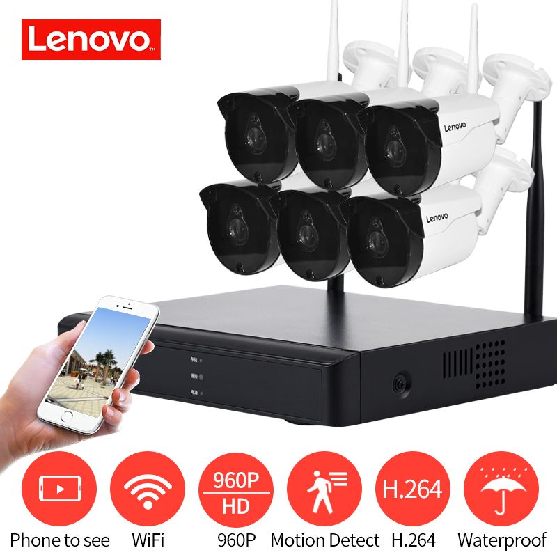 LENOVO 6CH Array HD Wireless Security Camera System DVR Kit 960P WiFi camera Outdoor HD NVR night vision Surveillance camera