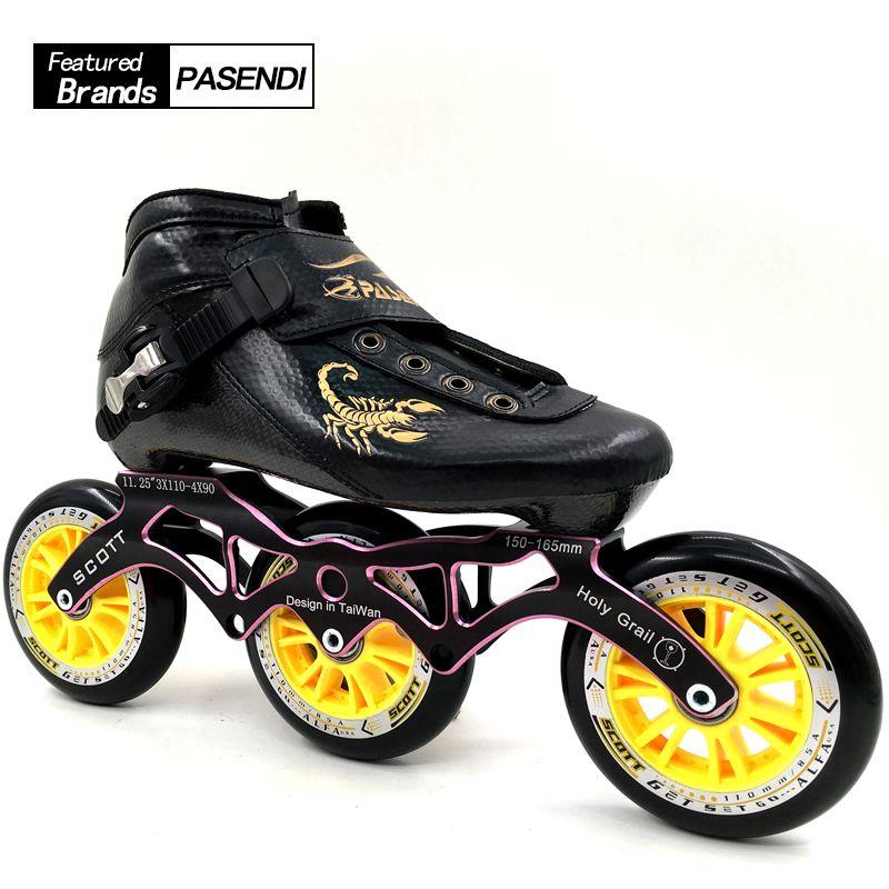 PASENDI Inline Patins Professionnel Chaussures de Patinage De Vitesse 3 roues Patins à roulettes Débutant Enfants/Adultes de Patins À roulettes Boot