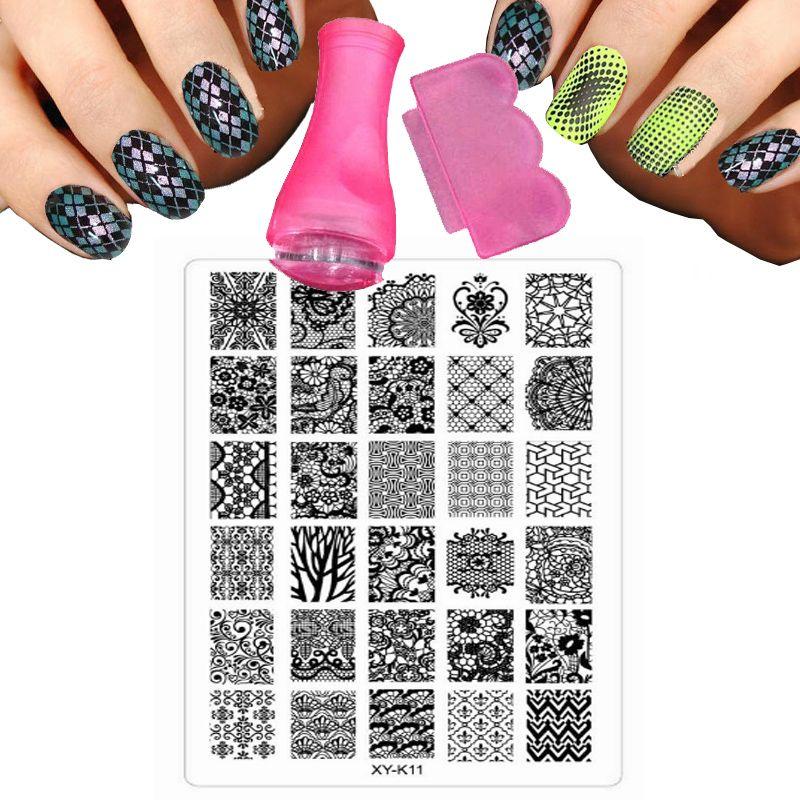 Горячие Пластик XY-серии K 30 Стиль 9.5x14.5 см Дизайн ногтей шаблон изображения плиты DIY изображения пластины штамп с розовым ногтевых пластин, ти...