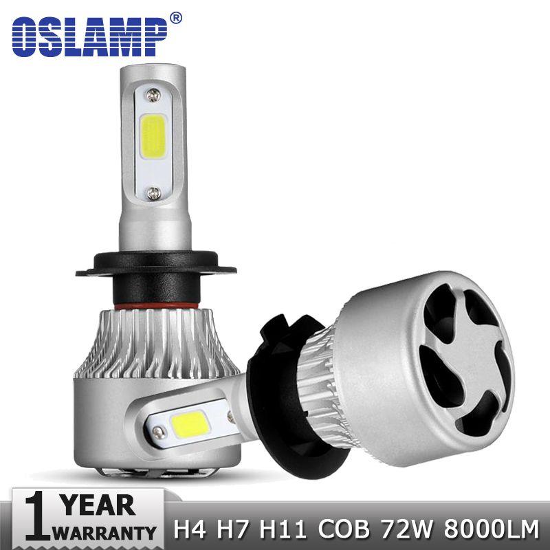 Oslamp H4 H7 H11 9005 9006 COB LED Car Headlight Bulbs Lamp 72W Hi-Lo Beam 8000LM 6500K Auto Led Headlamp Fog Light Bulb 12v 24v