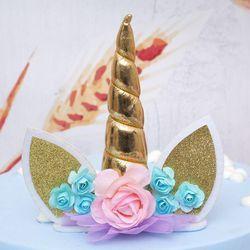 Unicornio cuernos pastel decoración Topper Halloween fiesta de cumpleaños suministros niños cumpleaños decoración de la torta