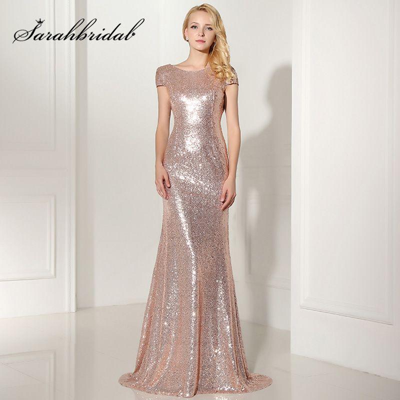 Más tamaño oro rosa brillante lentejuela Vestidos de dama de honor sexy backless largos vestidos de boda simple vestido de dama de honor os347