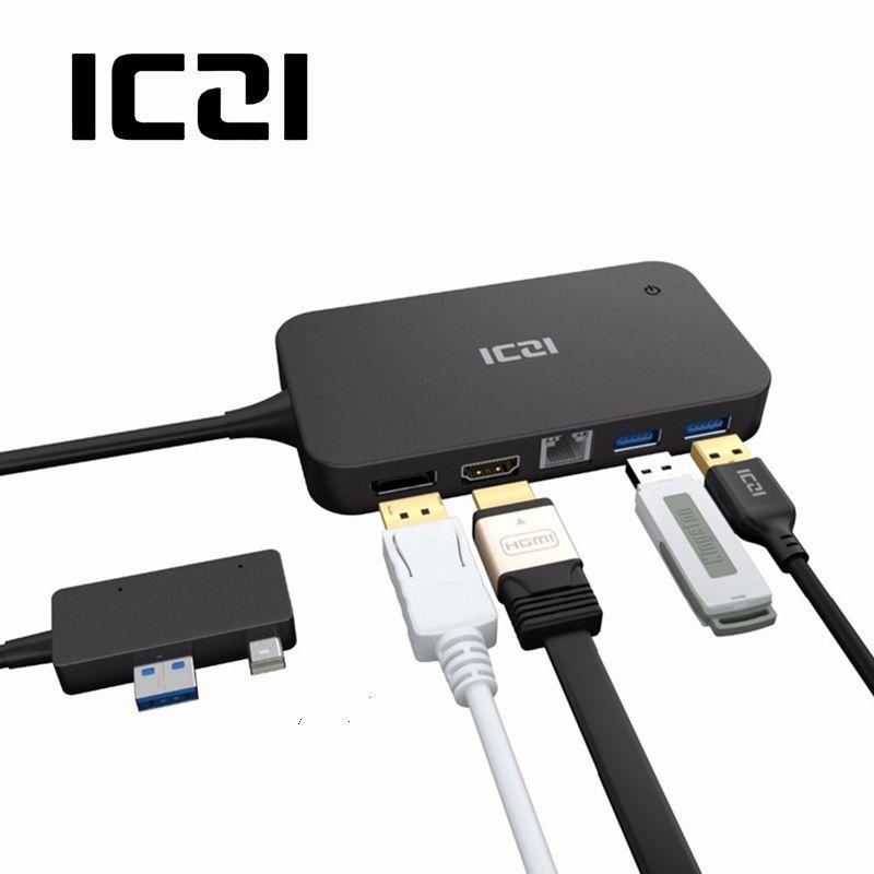 Hub USB de Dock de Surface d'iczi avec le port USB 2.0/3.0 de Port de port d'ethernet de HDMI DP pour Microsoft Surface Pro 6 5 4
